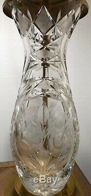 Mid Century Lausitzer Glass Hand-Cut 24% Lead Crystal Table Lamp Brass Base