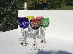 NACHTMANN Bleikristall 24% LEAD CRYSTAL CUT Color CORDIAL WINE GLASSES -Set of 6