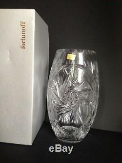 NEW Vtg Russian USSR over 24% Lead Hand Cut Crystal Star Vase Tag, Fortunoff Bo