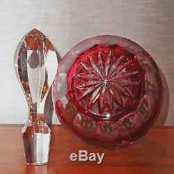 Nachtmann Diamond Cut Lead Crystal Large Decanter Gold Ruby New In Box