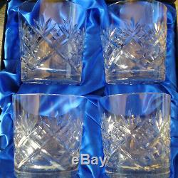 New In Original Box. Royal Scot Hand Cut Lead Crystal Whisky Glasses