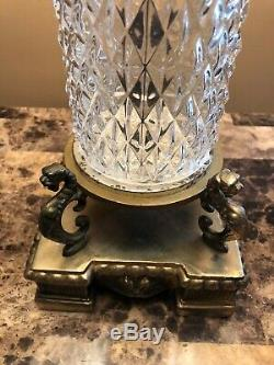 PAIR of Vintage Lead Crystal Cut Bouldier Lamps / cut Glass pointed Prisms