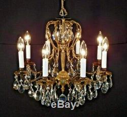 PETITE Stately Antique 8 Arm 8 Lite Brass French Cut Lead Crystal Chandelier