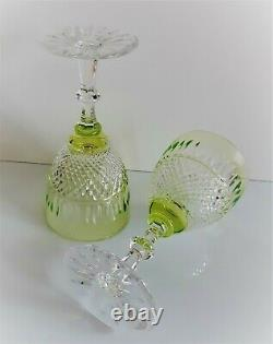 Pair Ajka Cimberleight Lime Cut To Clear Lead Crystal Water Goblets / Glasses