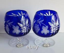 Pair Ajka Martisa Cobalt Cut To Clear Crystal Brandy Glasses, New, Signed