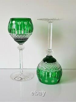Pair Ajka Xenia King Louis Green Cased Cut To Clear Wine Hocks / Glasses, Signed