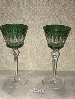 Pair Baccarat Wine Glass Cut Lead Crystal Hand Blown France Signed Emerald Green
