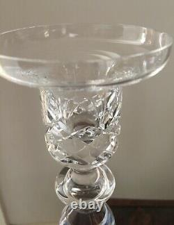 Pair Cumbria Crystal Lead Crystal Candlesticks Cut Decoration to Nozzles 22 cms