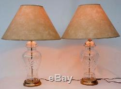 Pair Of (2) 24 % Lead Cut Crystal Glass Table Lamps Ginger Jar Shape