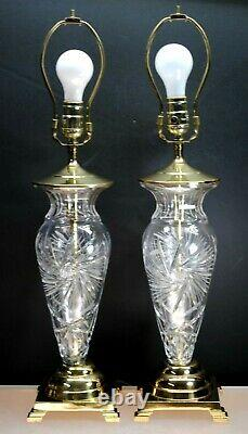 Pair Stunning American Brilliant Period Style Cut Crystal 24% Lead Bohemia Lamps