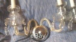 Pair Vintage Leaded Crystal Twin Candle Cut Glass Bowl / Foot Wall Sconces Italy