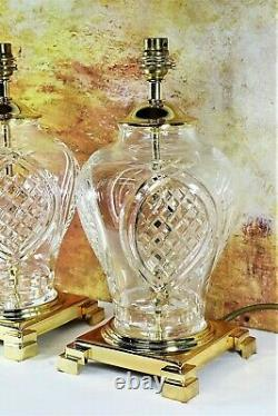 Pair of Vintage Table Lamps Cut Glass Lead Crystal Brass Fittings Antique Style