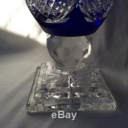 Polonia Lead Crystal 24% Pbo Hand Cut Cobalt Vase Made In Poland