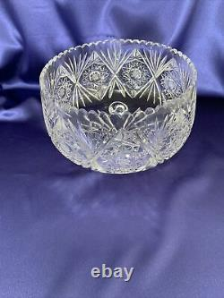 Queen Lace Variant Bohemian Czech Cut Lead Crystal Bowl Large With Feet