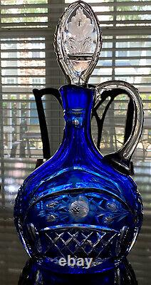 RARE Cobalt Blue Cut to Clear Etched Intaglio Roses Crystal Decanter MINT