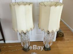 Rare Vintage Lead Crystal Cut Table Lamp Glass pointed Prisms Leviton Italy 46