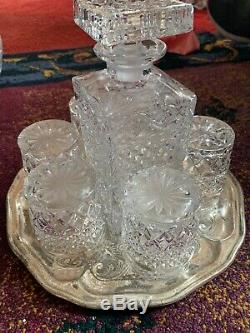 Royal Crystal Lead Crystal Cut Glass Decanters With X6 Glasses Diamond Cut