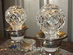 Royale County Lead Crystal Cut Whiskey Brandy Decanters Silver Plated
