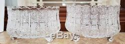 SET OF 2 VINTAGE ANTIQUE Hand Cut 24% lead Crystal Bowls Footed / 11 inch, R