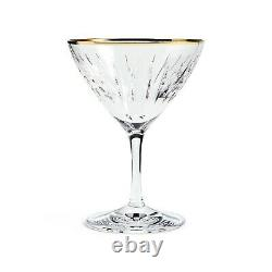 SOHO Home Roebling Cut Crystal Cocktail Glass, Set of Six, Gold Rim