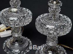 SetTwo Pair Vintage 70-s Bohemia Czech Crystal Lamps Hand Cut Diamond Pattern