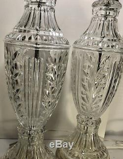 Set / 2 Crystal Clear Lead cut glass lamps withgold 1940's matching Table Lamps