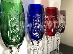 Set (4) Hand Cut 24% Lead AJKA MARSALA PATTERN Champagne Flutes Crystal Clear