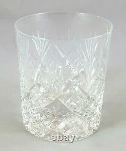 Set Of 4 24% Hand Cut Lead Crystal Whiskey Glasses + Decanter on Hide Tray -No34