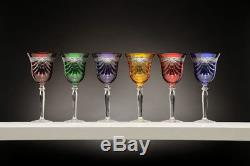 Set of 6 Hand Made 24%Lead Crystal Wine Glasses in Multicolor withDrape Cut