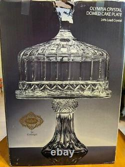 Shannon Godinger Olympia Lead Cut Crystal Domed Tall Cake Plate #5474