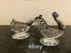 Silver 835 Figural Rooster and Hen Cut Lead Crystal Salt Cellars