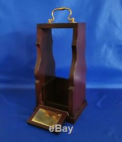 Single Mahogany Tantalus With Brass Fittings and 24% Cut Lead Crystal Decanter
