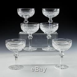 Six Cut Lead Crystal Champagne Coupes
