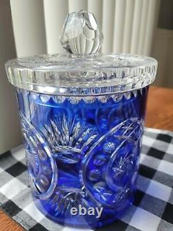 Stunning Lead Crystal Bohemian Chech Cut To Clear Cobalt Biscuit Jar