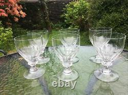 Stunning Vintage Antique lead cut crystal wine water goblets glass x 6 glasses