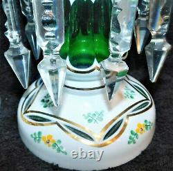 Superb Ant Bohemian Handpainted Lead Crystal & Cut White On Green Pair Lusters