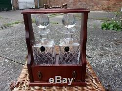 TWO HAND CUT DECANTER TANTALUS SET Fine Quality Lead Crystal Glass