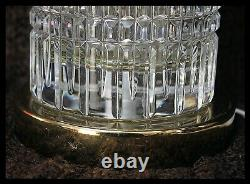 Table Lamps Pair Cut Leaded Glass Brass Vintage Hollywood Regency 24x5 1/2