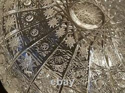 Tom Bohemia Queen Lace 9'' Flat Basket Hand Cut Over 24% Lead Crystal