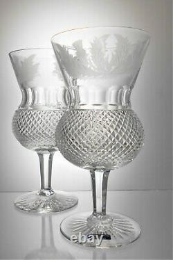 Two Gorgeous EDINBURGH Lead Crystal THISTLE Cut Glass Water Wine Goblets 300 ml