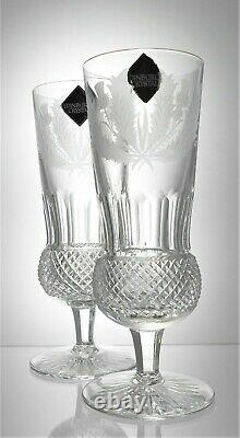 Two Signed EDINBURGH Lead Crystal THISTLE Cut Glass Champagne Flutes 220 ml