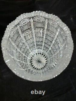 VTG Bohemia Czech Queen Lace Crystal Glass Hand Cut 24% Lead 10 Rounded Vase