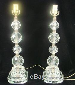 VTG Pair of Hand Cut Lead Crystal Electric Table Lamp Lights Filigree Fittings