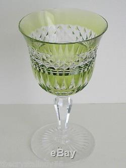 Val St Lambert Lime Paridot Cased To Clear Cut Lead Crystal Wine Goblet Vintage