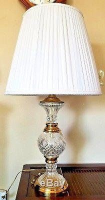 Vintage 24% Lead Crystal Lamp Hand Cut Glass Table Lamp No Shade