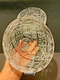 Vintage 24% Lead Cut Crystal Footed Covered Candy Bowl Dish Spire Knobbed Lid