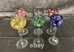 Vintage 6 Crystal Clear Lead Crystal Wine Glasses Hand Cut Made In Hungary