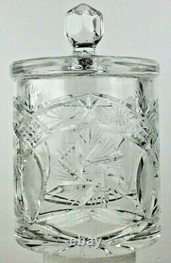 Vintage 8 Hand Cut 24% Lead Crystal Canister Jar With Lid Made In Poland NIB