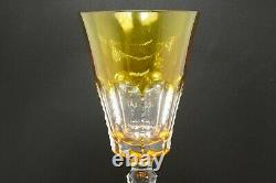 Vintage Ajka Hungary Olga Lausanne Amber Gold Cut to Clear Lead Crystal Goblet