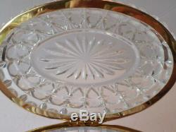 Vintage American Cut Clear Glass/Lead Crystal Hinged Oval Jewelry Trinket Box